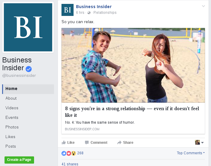 Business Insider Facebook Post