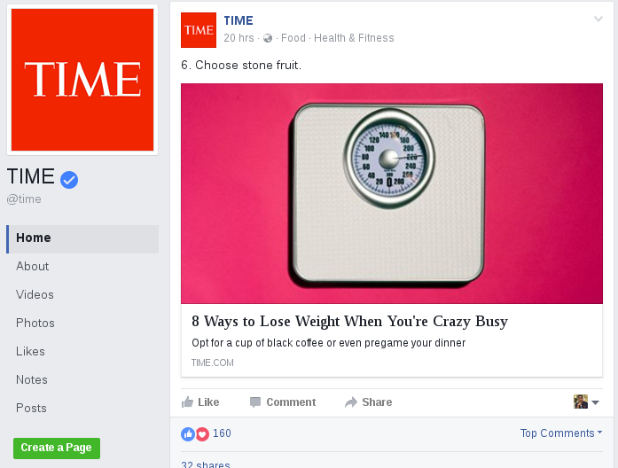 Time Facebook Page Post