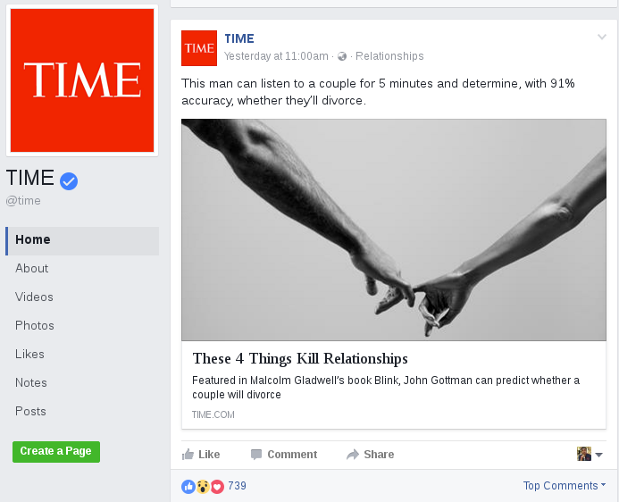 Time Facebook Post