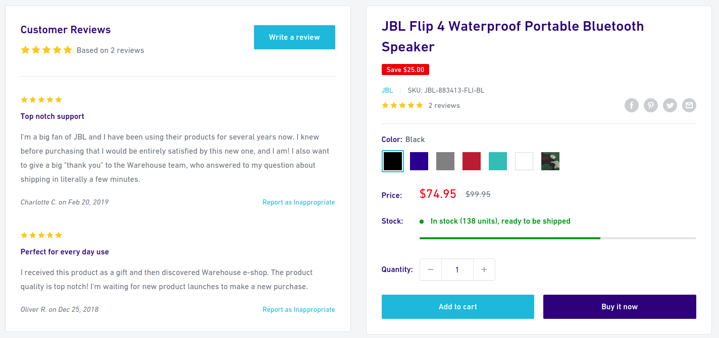 Shopify Website Product Review
